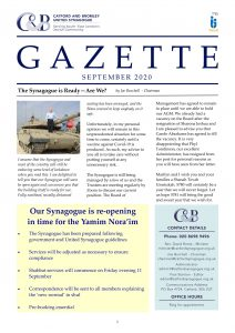Catford and Bromley Synagogue Gazette September 2020